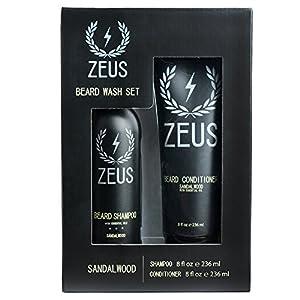 ZEUS Beard Shampoo and Conditioner Set for Men, Sandalwood