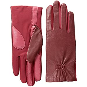Isotoner Women's Stretch Leather smarTouch Gloves, Really Red, Small/Medium