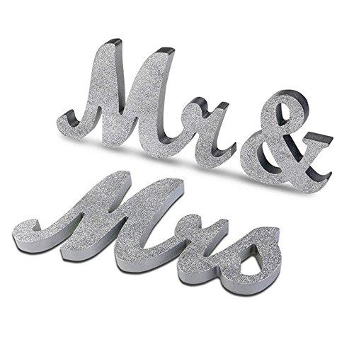 Mr   Mrs Sign Wooden Letters Wedding Sweetheart Table Decoration Vintage Style Photo Props Sign Glitter Free Standing Letters For Top Table Present By Aenmil Silver