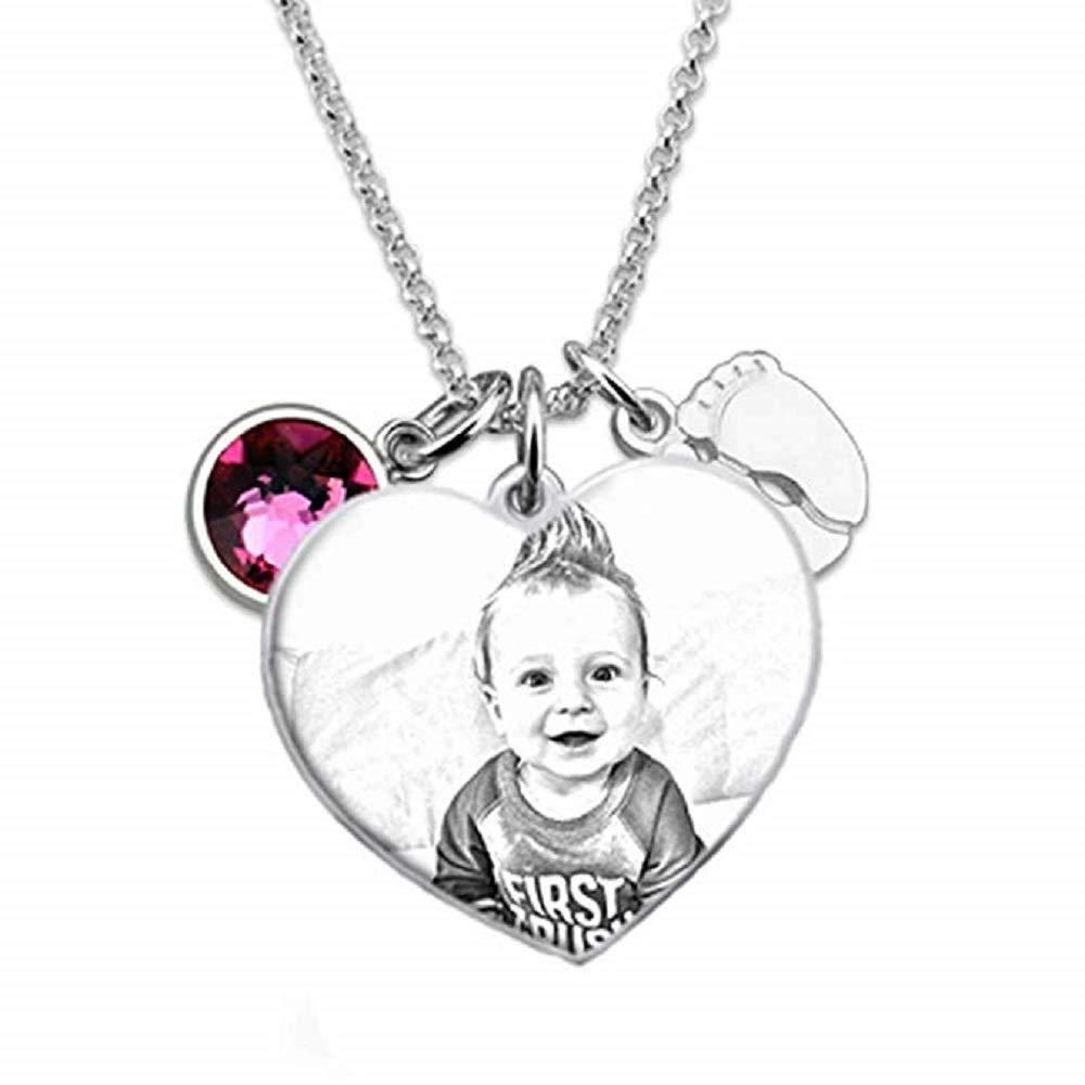 bilingouy Custom Photo Pendant Necklace,Engraving Customized Photo Image Text with Diamond