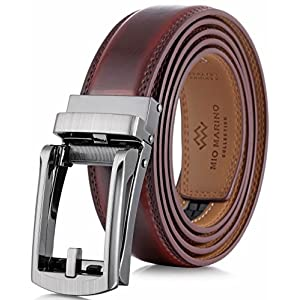 "Marino Men's Genuine Leather Ratchet Dress Belt with Open Linxx Buckle, Enclosed in an Elegant Gift Box - Mahogony - Style 37 - Custom: Up to 44"" Waist"