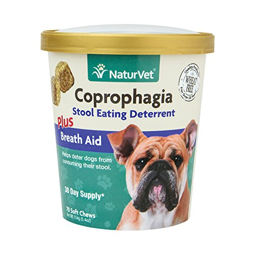 NaturVet Coprophagia Stool Eating Deterrent Plus Breath Aid for Dogs, 70 ct Soft Chews, Made in USA