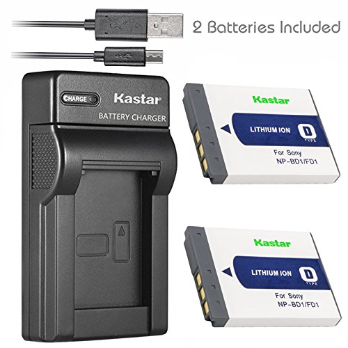 (Kastar Battery (X2) & Slim USB Charger for Sony NP-BD1, NP-FD1, BC-CSD and Cyber-shot DSC-G3, DSC-T2, DSC-T70, DSC-T75, DSC-T77, DSC-T90, DSC-T200, DSC-T300, DSC-T500, DSC-T700, DSC-T900, DSC-TX1)