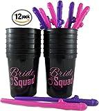 Bachelorette Party Straws Party Favor (20 Pack) and Bride Squad Cups (12 cups/16 oz) for Engagement, Bachelorette Or Bridal Showers Party Kit Bundle