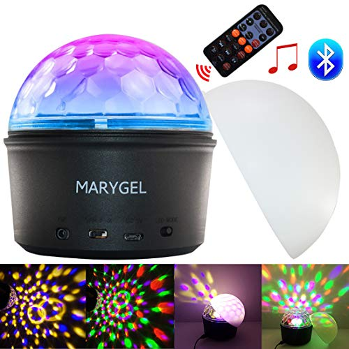Disco Party Lights,MARYGEL Sound Activated Rotating Crystal LED Strobe Lights Night Light With Wireless Bluetooth Speaker for Outdoor Party Disco Bar Club Birthday Christmas Kids Gift (With Remote) -