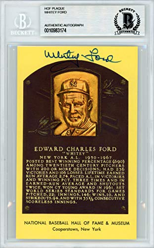 Ford Plaque - Whitey Ford Autographed HOF Plaque Postcard New York Yankees Beckett BAS #10983174