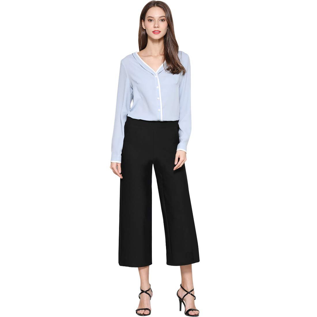 Tsful Women's Casual Loose Wide Leg Pants Pull On Dress Pant(Black, L-Waist 33.07''/Hips 40.16''/Length: 34.25'') by Tsful