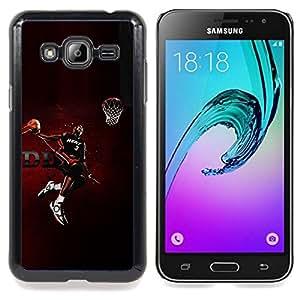 "Qstar Arte & diseño plástico duro Fundas Cover Cubre Hard Case Cover para Samsung Galaxy J3(2016) J320F J320P J320M J320Y (Heat 3 Baloncesto"")"