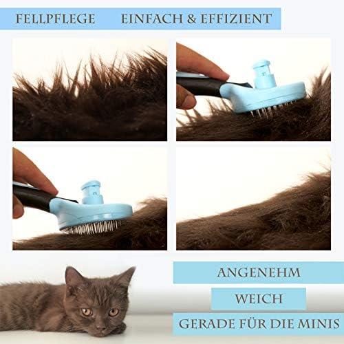 Joli Moulin Brosse pour chat de qualité supérieure - Auto-nettoyante - Pour peaux sensibles - Matériau respectueux de l'environnement - Poils courts à longs - Bleu