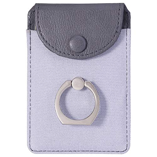 Finger Ring and Cell Phone Stick on Wallet Card Holder Phone Pocket for iPhone, Ultra-Slim Self Adhesive Credit Card Holder Wallet (Finger Ring Gray) (Best Cell Phone For The Money)