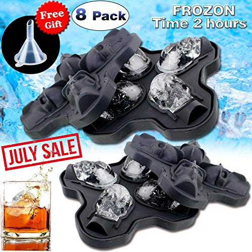Ice Cube Trays - 8 Pcs Silicone Ice Pop Molds for Party Favors Large Skull Shaped Flexible Round Ice Ball Maker Food Molds for Party Drink Whiskey Wine Cocktail 4 th of July -