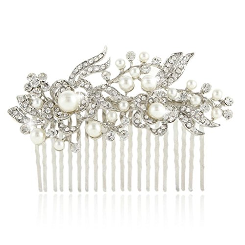 EVER FAITH® Cream Simulated Pearl Austrian Crystal Bridal Flower Hair Comb Clear Silver-Tone