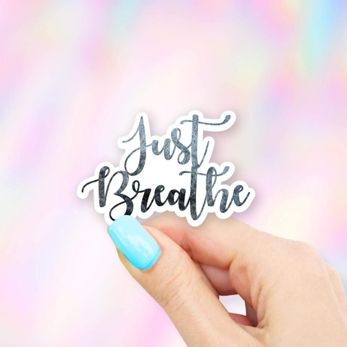Just Breathe Blue Vinyl Sticker - for Laptops, Water Bottles and Cell Phones