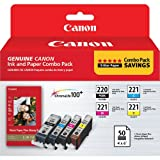 Canon 2945B011 PGI-220 and CLI-221 CMY Ink with PP-201 (50 Sheets) Combo Pack
