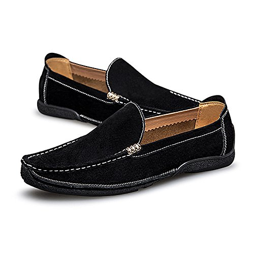 BBethun Nero Business scamosciata barca EU uomo Suture Mocassini pelle guida in da 43 on Mocassini Fashion Flat Scarpe da vera Handwork Nero Color Mocassini Shoes da Dimensione Slip pelle razrf6