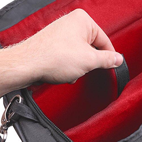 Mini Projektor Tragetasche mit anpassbare Trennwände & Zubehör Aufbewahrungstaschen von USA Gear–S7Pro rot