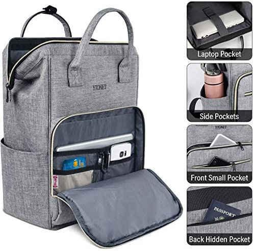 Laptop Backpack for Women 15.6 Inch Travel Backpack with USB Charging Port RFID Anti-Theft Water Resistant Purse Backpacks for Work School Travel Bag, Grey