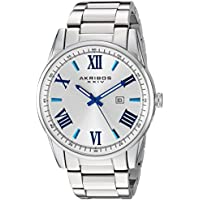 Akribos XXIV Men's Quartz Silver-Tone Case with Blue Accented White Dial on Silver-Tone Stainless Steel Bracelet Watch AK936SS