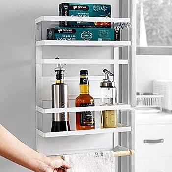 Winnprime Magnetic Fridge Spice Rack Organizer with 5 Utility Hooks, 4 Tier Magnetic Paper Towel Holder, Multi Use Kitchen Rack Shelves [Matte White]