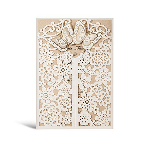 WISHMADE 50 White 3D Laser Cut Wedding Invitations with Envelopes and RSVP Card, Butterfly Floral Gate Design Blank Invites for Dinner Party Bridal Shower Birthday CW7085W