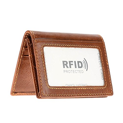 HAWEE Mens Bifold Front Pocket Wallet Genuine Leather RFID Blocking Card Billfold 5 Slots with Cash Compartment, Brown