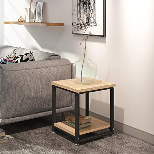 End Tables Living Room, 2-Tier Sofa Side Table with Storage Shelf, Vintage Coffee Table, Wood Look Accent Furniture with Metal Frame, Easy Assembly, Night Stand for Bedroom 17.7 Dx19.68 H