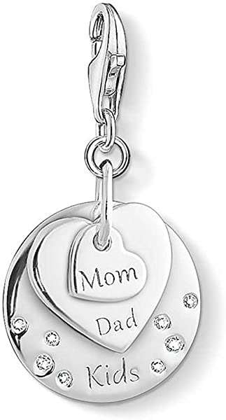 0f035e104d441 Hearts MOM, DAD, KIDS Zirconia Charm Pendant