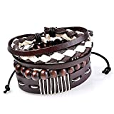 Young & Forever MenTastic Collection Brown Leather Wooden Beads Bracelet Pack of 3 For Men / Boy B751