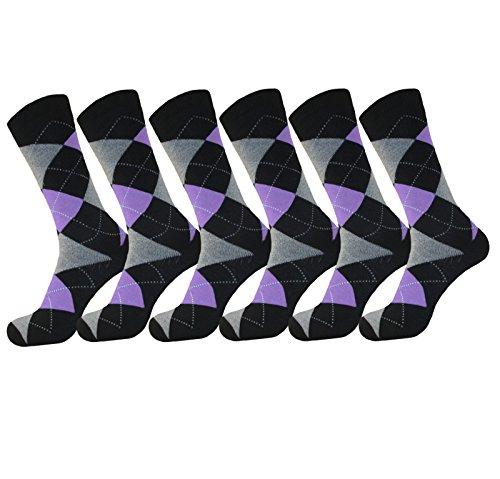 MENS ARGYLE PURPLE DRESS SOCKS COTTON BLEND 6 PAIR ROYAL CLASSIC 10-13 by Royal Classic