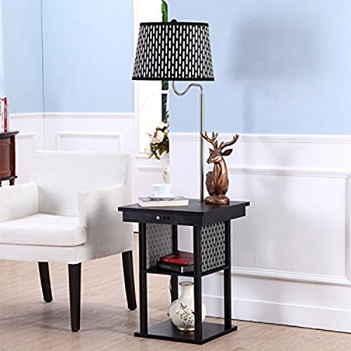 Brightech Madison LED Floor Lamp Swing Arm Lamp W/ Shade U0026 Built In End  Table U0026 Shelf, Includes 2 USB Ports U0026 1 US Electric Outlet U2013 Bedside Table  Lamp For ...