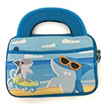 Ipad mini Case 7 - 8 inch Kid Friendly Children's universal Tablet Ultra Portable soft Neoprene Zipper Carrying Sleeve Bag child Accessory Pocket Handle Everyday Travel boy girl (Ocean Shark Beach)