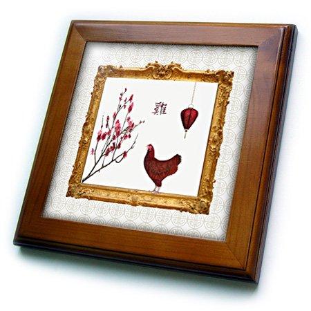 Rose Lantern Plum Frame Sign Rooster