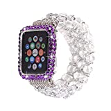 Compatible Apple Watch Band 38mm+Apple Watch Case 38mm,MeiQing Bling Crystal Diamonds Bead iWatch Band Case Protective for Apple Watch Series 3/2/1 (Purple)