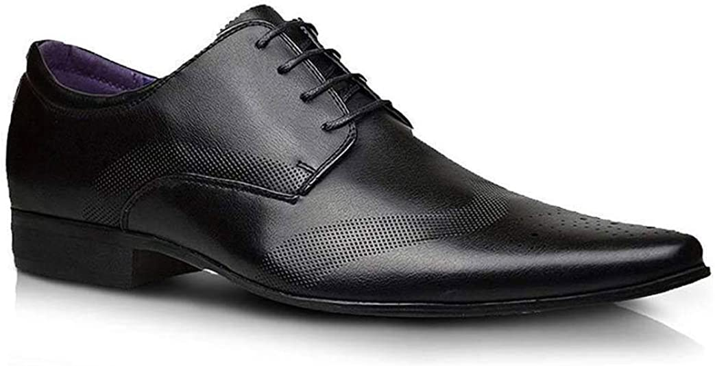 Moda Hombre Nuevo Zapatos Negros De Piel Formal Elegante Vestido talla UK 6 7 8 9 10 11 - Negro, hombre, 7 UK / 41 EU
