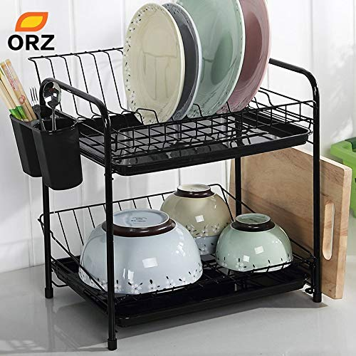 Dish storage Plate Drying Drainer Dryer Tray Bathroom Nonslip Rack Over Sink DS
