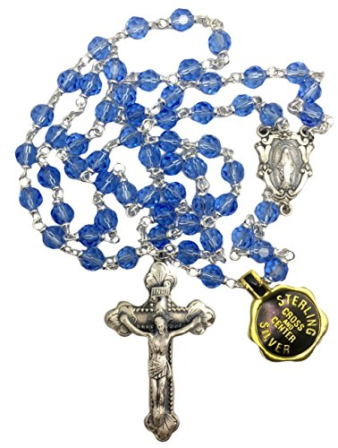 - Creed Vienna Collection Sterling Silver Rosary 6mm Light Blue Cielo Genuine Austrian Crystal Beads-
