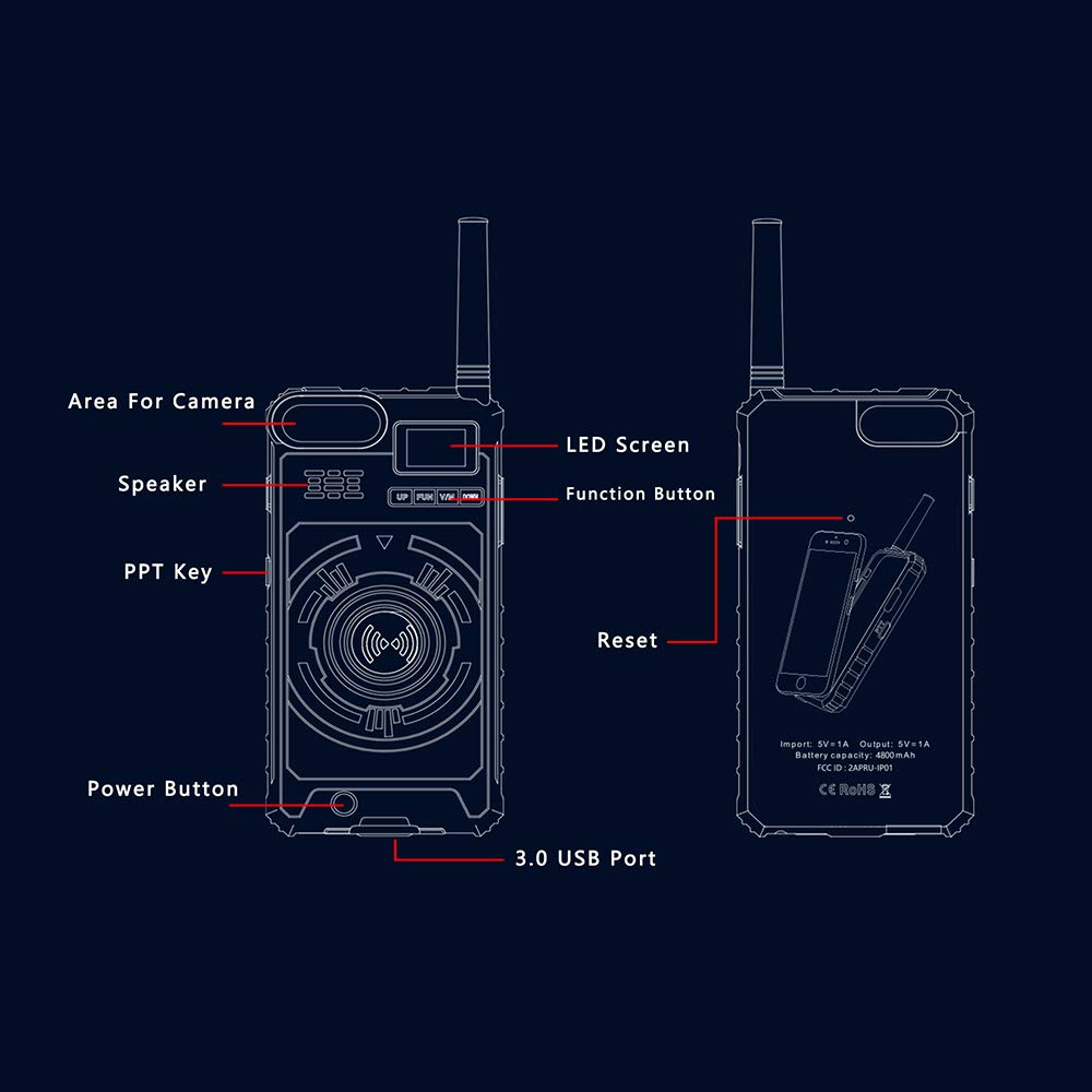 Docooler BOXCHIP Outdoor Walkie Talkie 3-in-1 Multi-Function Intercom Power Bank Phone Case for iPhone X by Docooler (Image #2)
