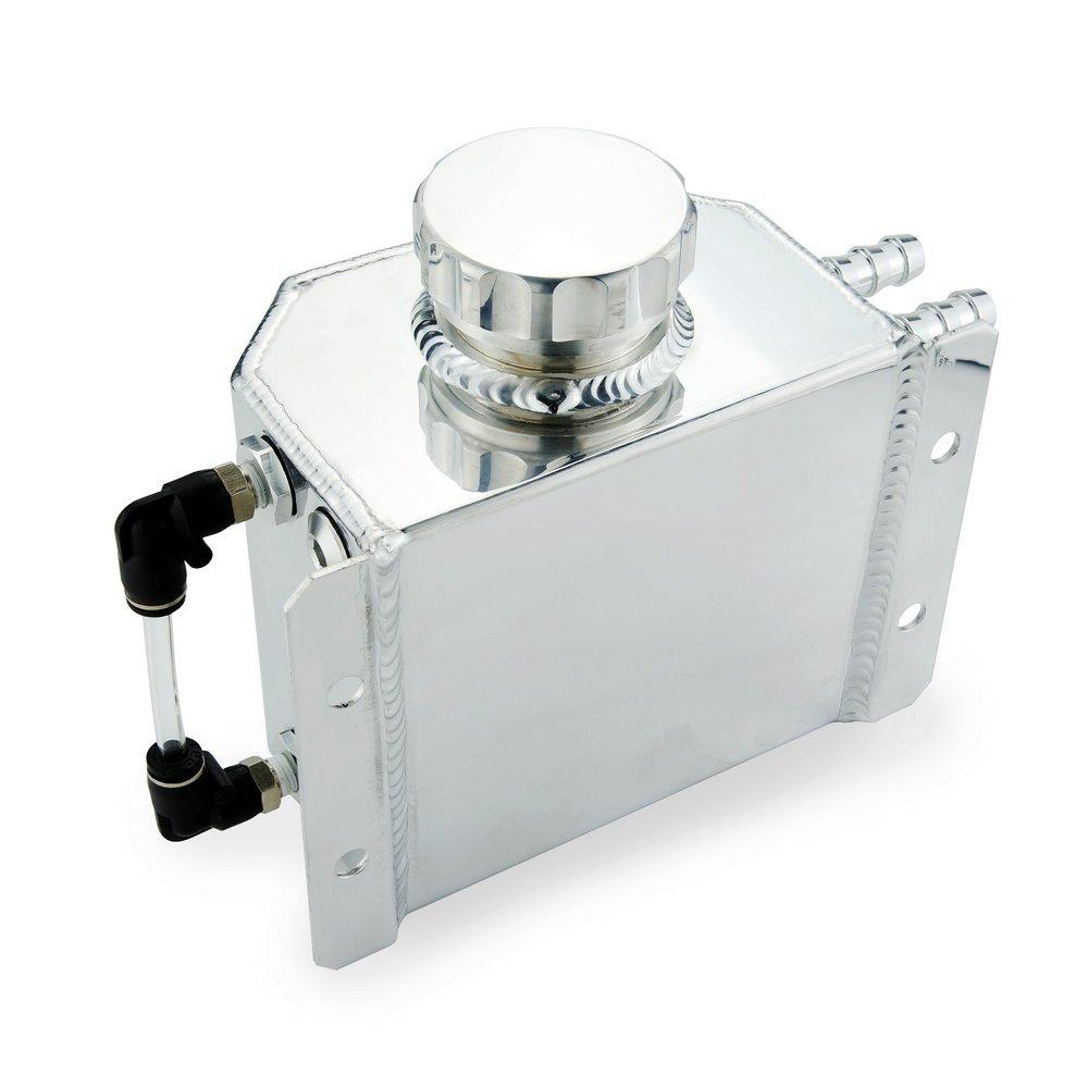 Heinmo Universal 1L Aluminum Auto Radiator Coolant Expansion Alloy Tank with Drain Plug 1000ml(Black) Heinmo Plus