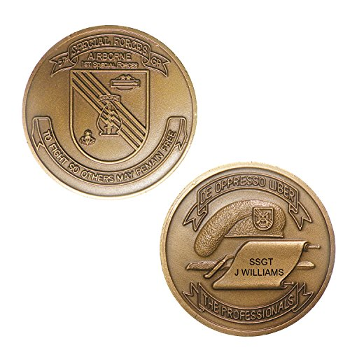 Personalized Custom Engraved 5th Special Forces Group Airborne Veteran Premium Brass Antique with Enamel - Challenge Coin - Medallion - 1.58 inch (40mm) Round