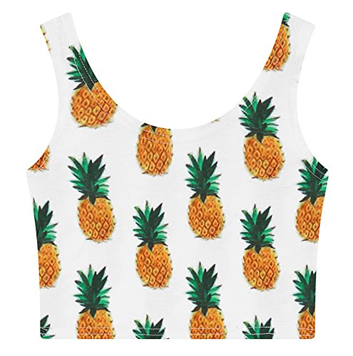 Women's Multi Digital Printed Crop Vest Tank Tops (Pineapple), One size (Crop Tanks For Women compare prices)