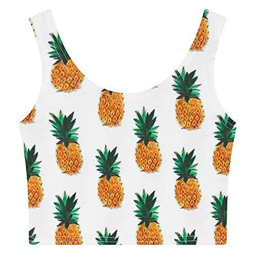Women's Multi Digital Printed Crop Vest Tank Tops (Pineapple), One -