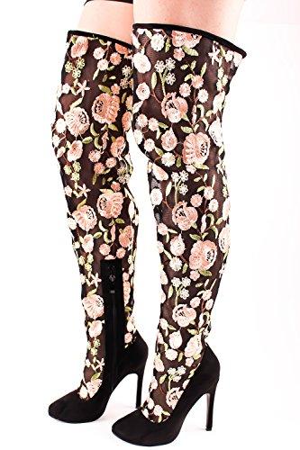 Lolli Couture Marilyn Moda Konstläder Sys Design Chunky Häl Tillfällig Knähöga Västra Stövlar Blacknwsuedenude-us-003
