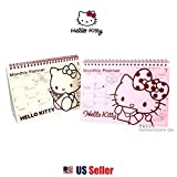 Sanrio Hello Kitty Monthly Weekly Standing Planner Schedule Book : Red / Pink (RED)