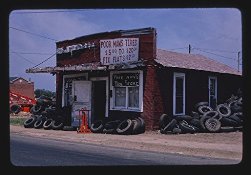 Vintography 16 x 24 Gallery Wrapped Framed Art Canvas Print of Poor Man's Tires, Greenwood Road, Shreveport, Louisiana 1982 Roadside Americana Ready to Hang ()