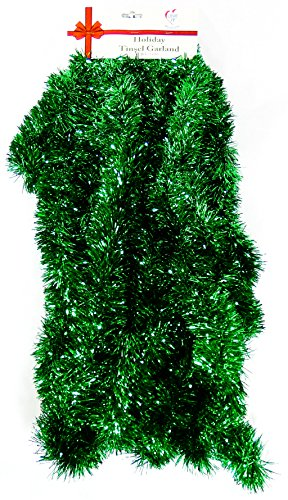 25 Ft. Long Seasonal Holiday Tinsel Garland from Love It! Products. Use for Christmas, Thanksgiving, New Years, Birthday and any celebration, party or event. Color: Green