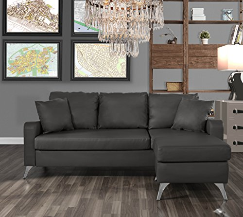 Divano Roma Furniture Bonded Leather Sectional Sofa - Small Space Configurable Couch (Dark Grey) (Sectional Chaise With Sofa Cuddler)