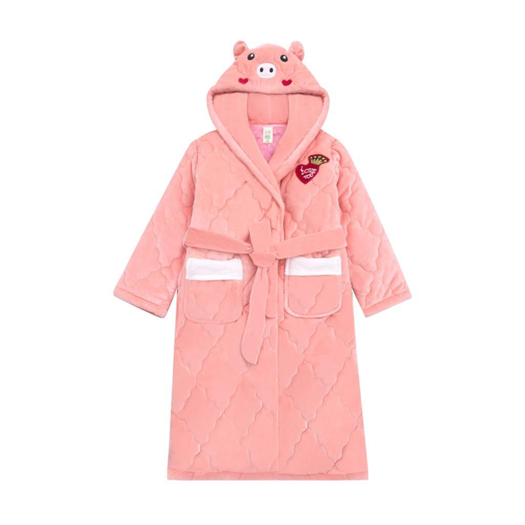 rose 160CM WSY Robe de Nuit Peignoir Enfant Flanelle d'Hiver Section épaissie à Trois Couches du Pyjama en Velours Corail (Couleur   rose, Taille   160CM)