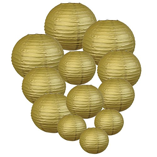 Just Artifacts Decorative Round Chinese Paper Lanterns 12pcs Assorted Sizes (Color: Gold)