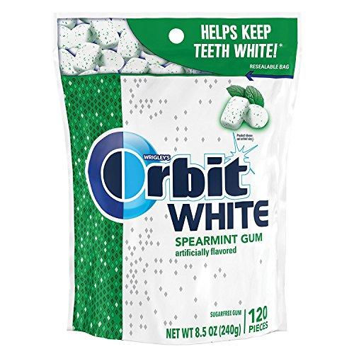 ORBIT Gum WHITE Spearmint Sugarfree Chewing Gum, 8.5 Ounces Resealable Bag 120 Pieces