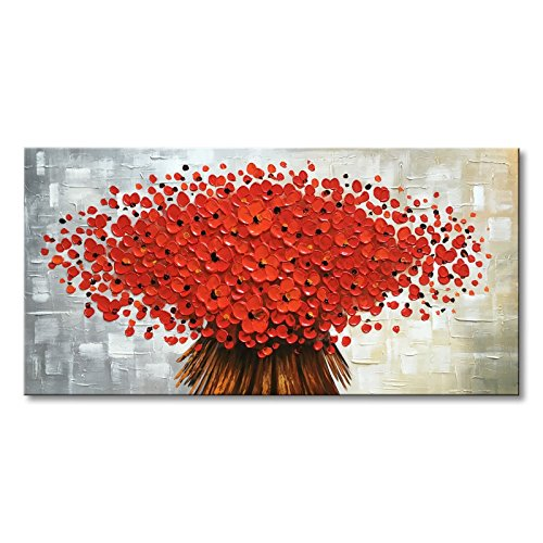 """Winpeak Art Large Hand Painted Abstract Canvas Wall Art Modern Textured Red Flower Oil Paintings Contemporary Artwork Floral Hangings Stretched and Framed Ready to Hang (56"""" W x 28"""" H, Red)"""